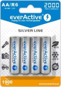 EVERACTIVE AKUMULATORKI EVERACTIVE NI-MH R6 AA 2000 MAH SILVER LINE. READY TO USE. EVHRL6-2000